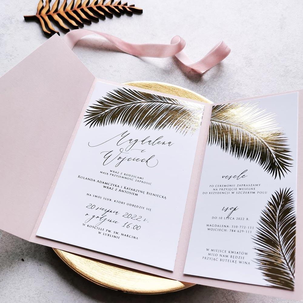 liść palmy zaproszenie w folderze